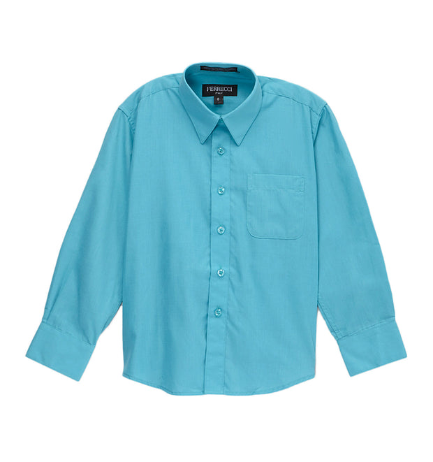 Premium Solid Cotton Blend Turquoise Dress Shirt - Ferrecci USA