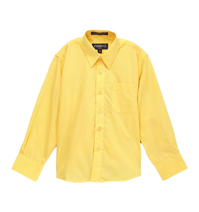 Premium Solid Cotton Blend Yellow Dress Shirt - Ferrecci USA