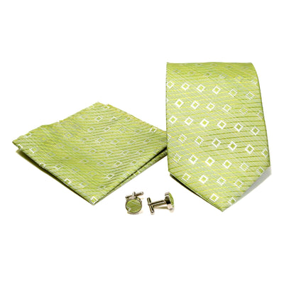 Men's Green on Green Striped Geometric Design 4-pc Necktie Box Set - Ferrecci USA