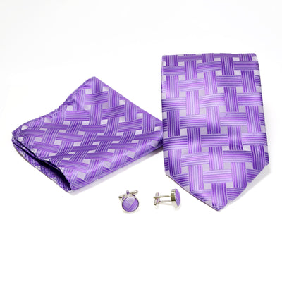 Men's Shiny Purple Cross Hatched Design 4-pc Necktie Box Set - Ferrecci USA