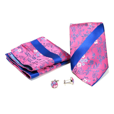 Men's Fuchsia-Royal Blue Floral Striped Design 4-pc Necktie Box Set