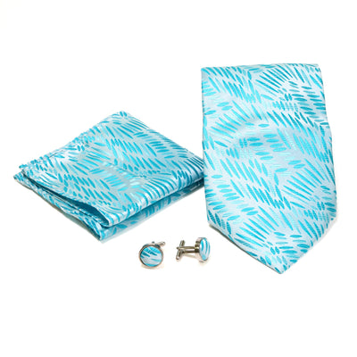 Men's Blue-Turquoise Organic Scattered Design 4-pc Necktie Box Set