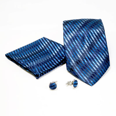 Men's Blue Slanted Checkered Design 4-pc Necktie Box Set