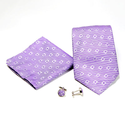 Men's Purple Squared-Striped Design 4-pc Necktie Box Set