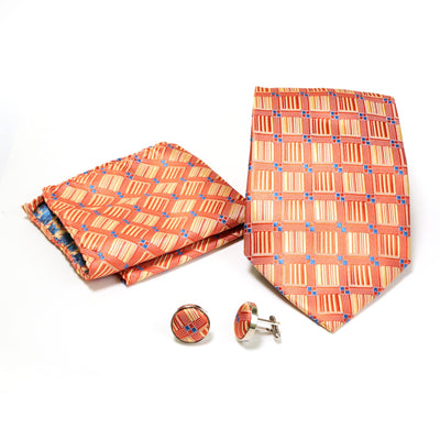 Men's Orange-Yellow Geometric Design 4-pc Necktie Box Set - Ferrecci USA