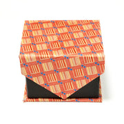 Men's Orange-Yellow Geometric Design 4-pc Necktie Box Set