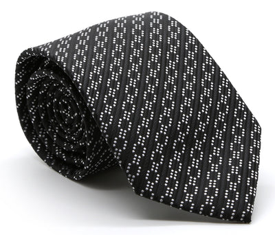 Mens Dads Classic Black Striped Pattern Business Casual Necktie & Hanky Set C-1 - Ferrecci USA