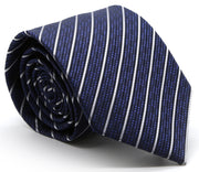 Mens Dads Classic Navy Striped Pattern Business Casual Necktie & Hanky Set C-2 - Ferrecci USA