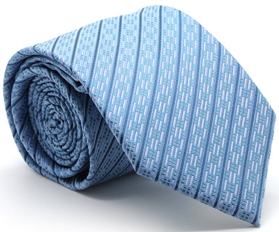 Mens Dads Classic Blue Striped Pattern Business Casual Necktie & Hanky Set C-8 - Ferrecci USA