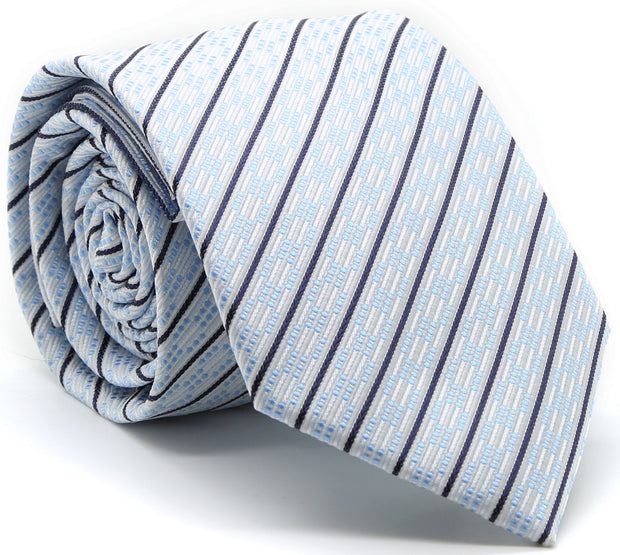 Mens Dads Classic White Striped Pattern Business Casual Necktie & Hanky Set C-9 - Ferrecci USA