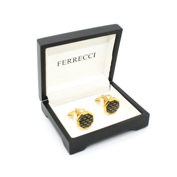 Goldtone Criss Cross Polygon Cuff Links With Jewelry Box