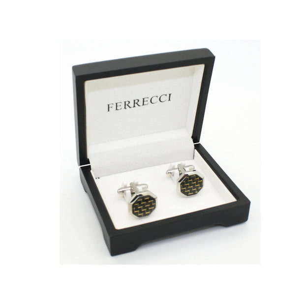 Silvertone Criss Cross Polygon Cuff Links With Jewelry Box - Ferrecci USA