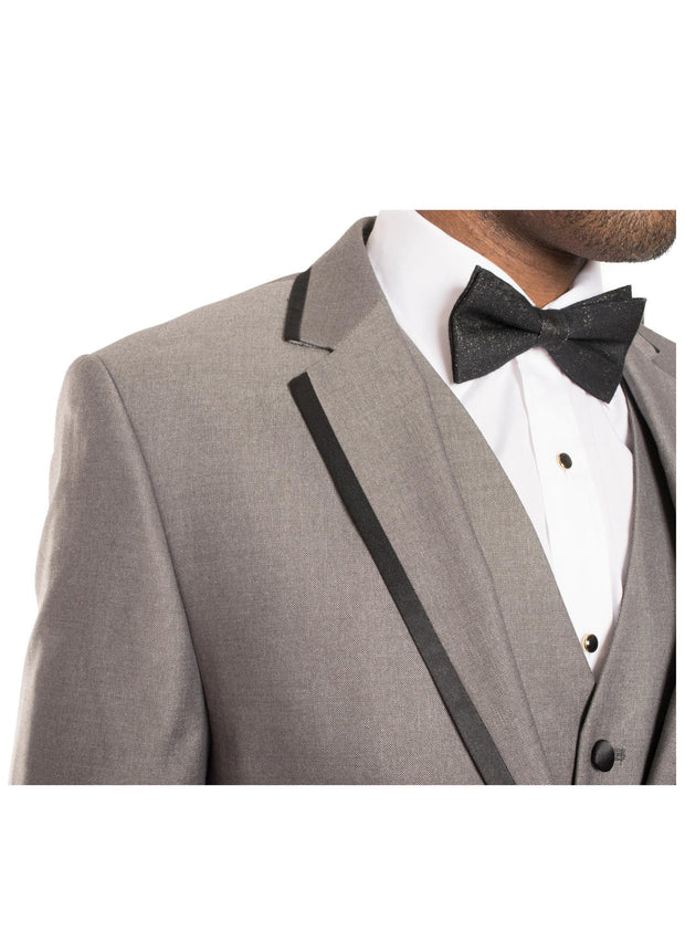 Celio Grey & Black Slim Fit 3 Piece Tuxedo - Ferrecci USA