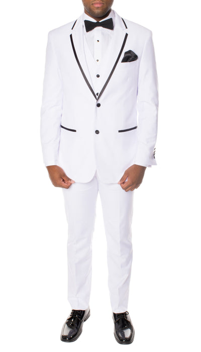 Celio White & Black 3 piece Slim Fit Tuxedo - Ferrecci USA