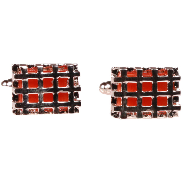 Silvertone Square Orange Cufflinks with Jewelry Box - Ferrecci USA