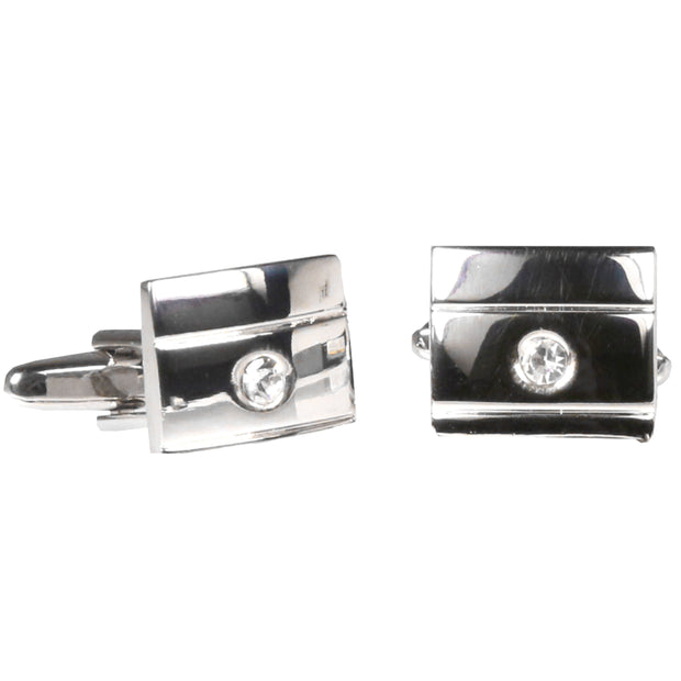 Silvertone Square Silver Gemstone Cufflinks with Jewelry Box - Ferrecci USA