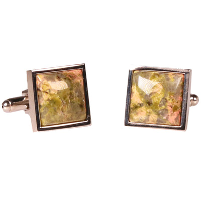 Silvertone Square Orange/Green Marble Cufflinks with Jewelry Box - Ferrecci USA