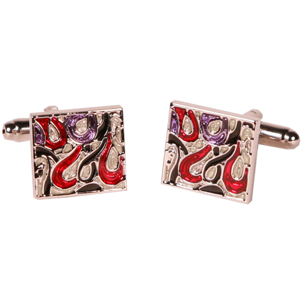 Silvertone Square Red Geometric Pattern Cufflinks Cufflinks with Jewelry Box - Ferrecci USA