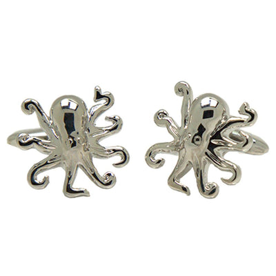 Silvertone Novelty Octopus Cufflinks with Jewelry Box