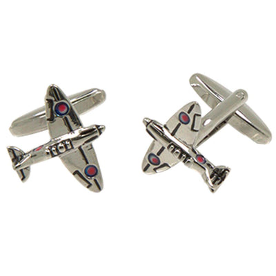 Silvertone Novelty Fighter Aircraft Cufflinks with Jewelry Box - Ferrecci USA