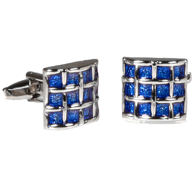 Silvertone Square Blue Gemstone Cufflinks with Jewelry Box - Ferrecci USA