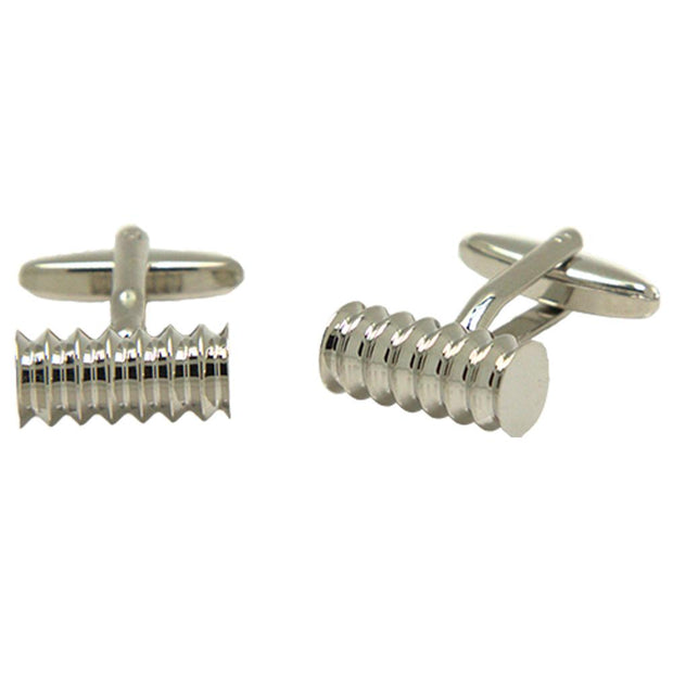 Silvertone Novelty Spiral Tube Cufflinks with Jewelry Box - Ferrecci USA