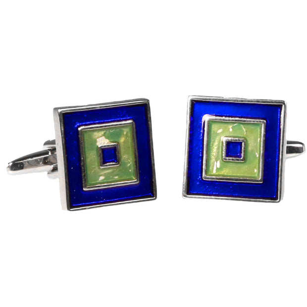 Silvertone Square Blue/Green Cufflinks with Jewelry Box - Ferrecci USA