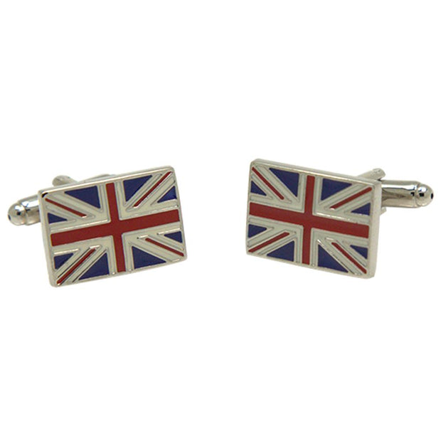 Silvertone Novelty Great Britain Flag Cufflinks with Jewelry Box - Ferrecci USA