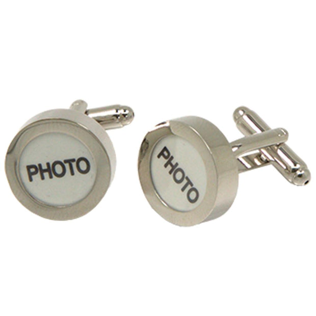 Silvertone Novelty Circle Photo Cufflinks with Jewelry Box - Ferrecci USA