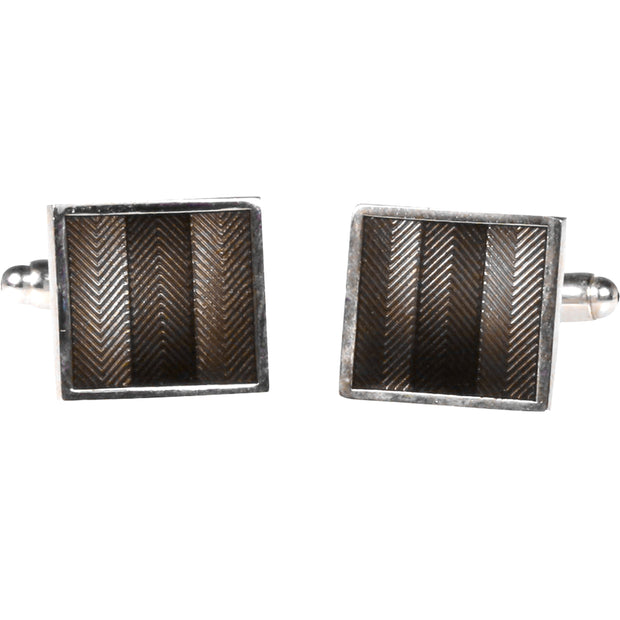 Silvertone Square Grey Cufflinks with Jewelry Box - Ferrecci USA