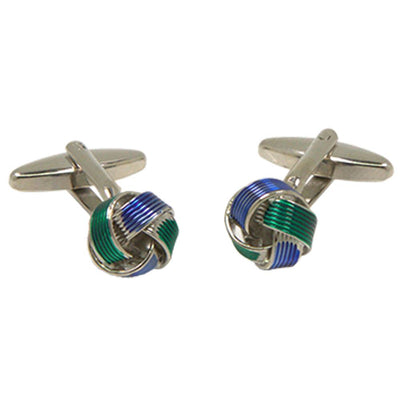 Silvertone Blue Green Circle Cufflinks with Jewelry Box - Ferrecci USA