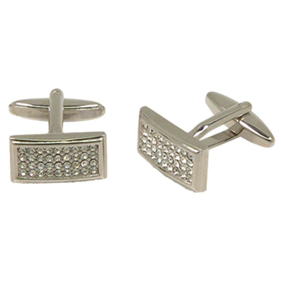 Silvertone Square Diamond Cufflinks with Jewelry Box - Ferrecci USA