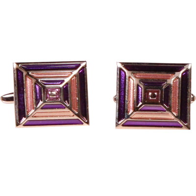 Silvertone Square Purple Gold Cufflinks with Jewelry Box - Ferrecci USA