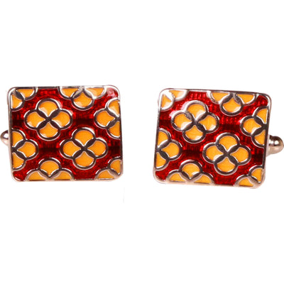 Silvertone Red Geometric Pattern Cufflinks with Jewelry Box