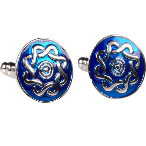 Silvertone Blue Circle Geometric Pattern Cufflinks with Jewelry Box - Ferrecci USA