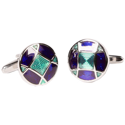 Silvertone Circle Blue Geometric Cufflinks with Jewelry Box