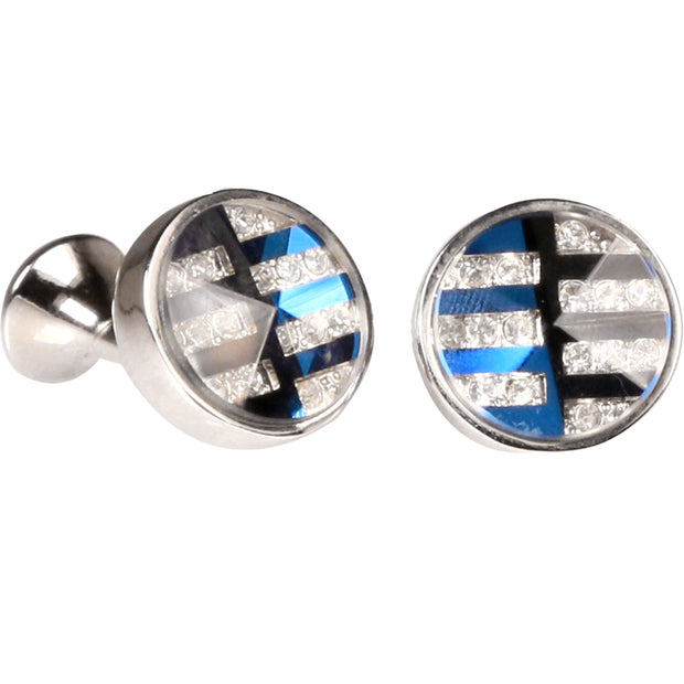Silvertone Silver and Blue Pattern Cufflinks with Jewelry Box - Ferrecci USA