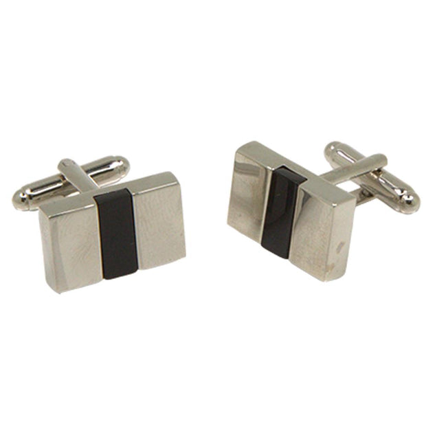 Silvertone Square Black Stone Cufflinks with Jewelry Box - Ferrecci USA