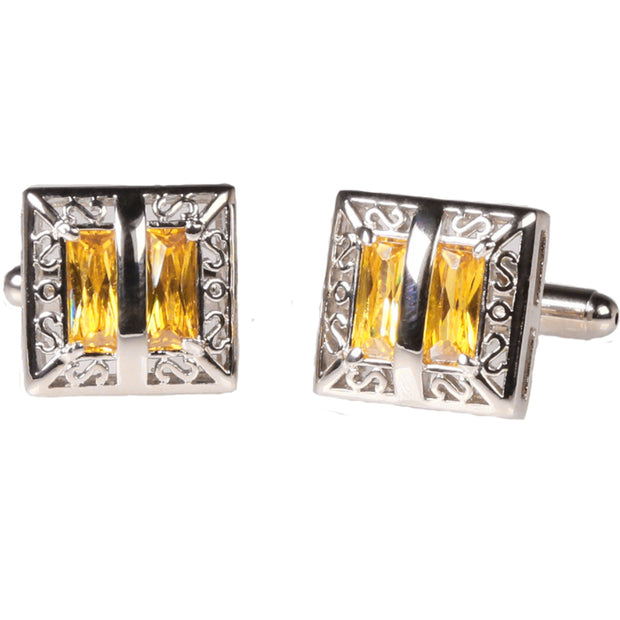 Silvertone Square Yellow Gemstone Cufflinks with Jewelry Box - Ferrecci USA