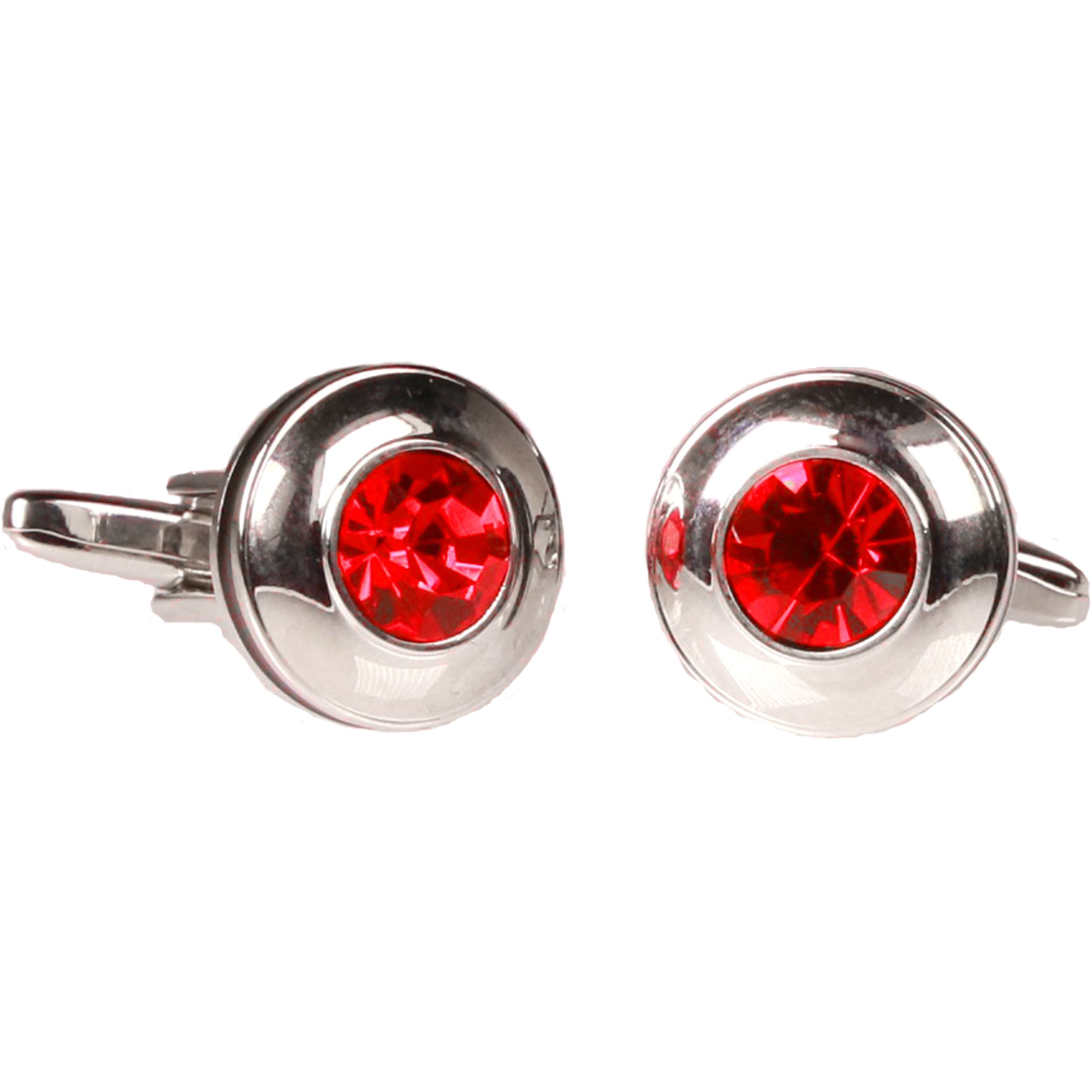 Silvertone Circle Red Stone Cufflinks with Jewelry Box