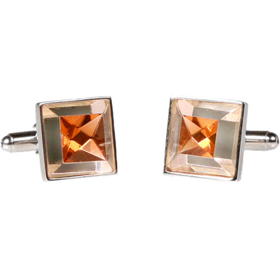 Silvertone Square Gold Gemstone Cufflinks with Jewelry Box - Ferrecci USA