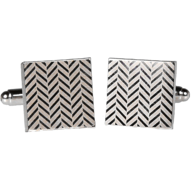 Silvertone Square Silver Zig Zag Cufflinks with Jewelry Box - Ferrecci USA