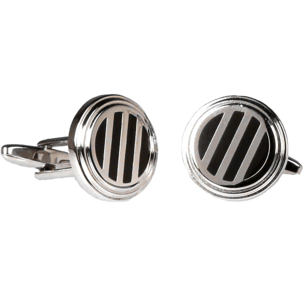 Silvertone Circle Black and Silver Cufflinks with Jewelry Box - Ferrecci USA