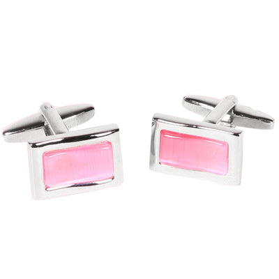 Silvertone Rectangle Pink Gemstone Cufflinks with Jewelry Box - Ferrecci USA