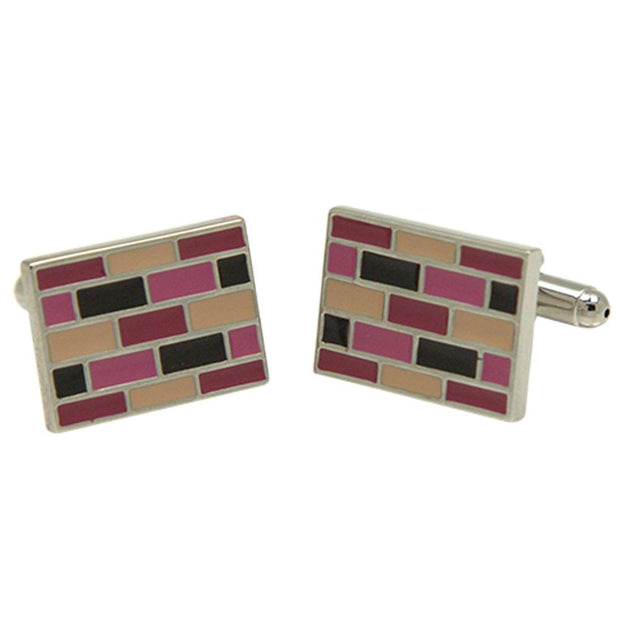 Silvertone Square Pink Cufflinks with Jewelry Box - Ferrecci USA