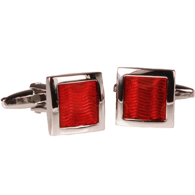Silvertone Square Red Gemstone Cufflinks with Jewelry Box - Ferrecci USA