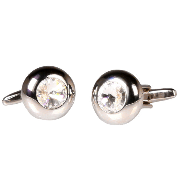 Silvertone Circle Silver Stone Cufflinks with Jewelry Box - Ferrecci USA