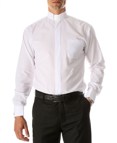 White Clergy Deacon Bishop Priest Mandarin Collar Dress Shirt - Ferrecci USA