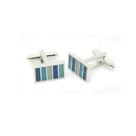 Silvertone Blue Cuff Links With Jewelry Box