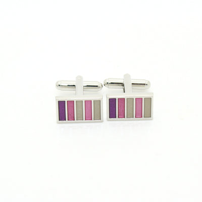 Silvertone Lavender Stripe Cuff Links With Jewelry Box - Ferrecci USA
